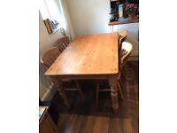 Dining table and chairs oak, beach. Shabby chic, farmhouse, 4 chairs, medium table