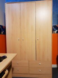 3 Door Bedroom Wardrobe Unit & Chest of Drawers in Very Good Condition