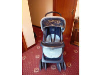Graco Navy and Blue Pushchair Pram Buggie with Apron, Foot Muff, Rain cover and Changing Bag