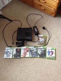 xbox 360 Console (250mb) with wireless controller, HDMI cable & 7 games