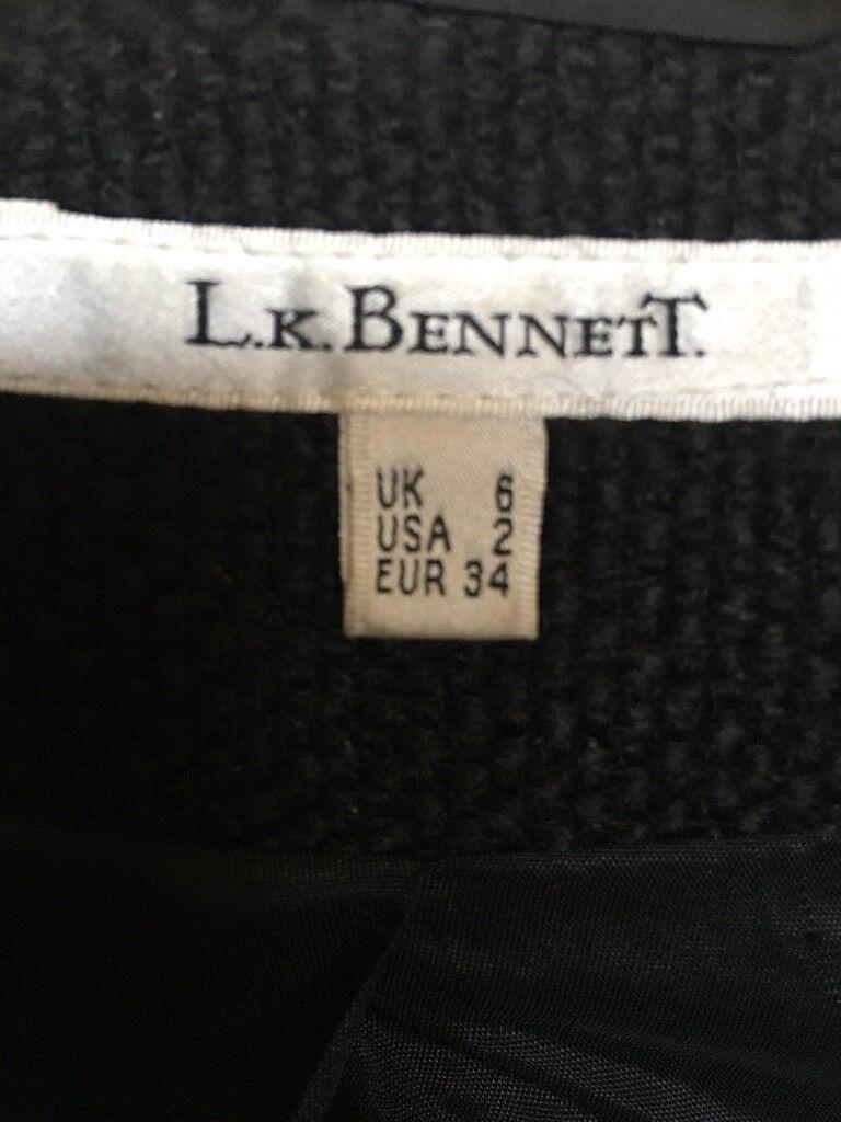 Ladies black wool Lk bennet size 6 suit