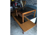 MID-CENTURY GLASS TOP LONG COFFEE TABLE.