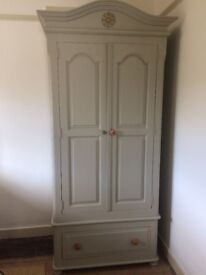 Painted pine wardrobe, good condition, Vert De Terre colour (Farrow and ball paint)