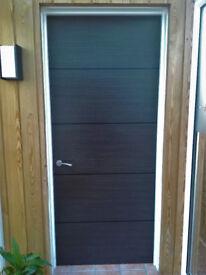 Charcoal interior Flush Fire Door 4 line veneer detail 838x1981