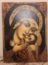 Reproduction of an original icon from Middle Ages of Holy Mary and Jesus