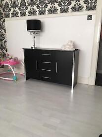 Black and silver sideboard furniture