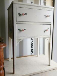 "Oakville 17""w 13""d 26""h WHITE SIDE TABLE Hand Painted Flowers Floral Pretty Vintage Retro 90s"