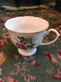 Pink Floral Gold Rim Cup and Saucepan