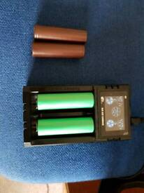 Battery charger for Electronic cigarette battery , and two Samsung battery