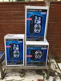 """2 x Skytec 12"""" DJ Disco Karaoke speakers + 15"""" bass active LED light audio speaker"""