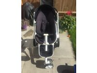 Quinny Moodd Single Seat Stroller Pushchair. Black with white Frame Including Quinny Bag