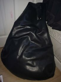 Bean Bag Faux Leather Black