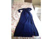 Branded (COAST), Formal, Stretchy UK Size 6, Navy Blue, Lace neck, Long Dress, Excellent Condition.