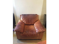 Genuine Tan Leather Armchair Comfortable Good Condition