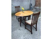 ENGLISH DROP LEAF TABLE + 2 VICTORIAN CHIARS FREE DELIVERY 🇬🇧VINTAGE/ANTIQUE