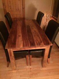 Real wood dining table & 6 chairs
