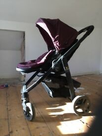 Evo Graco Pushchair And Car seat - plum coloured. Good condition. Great lightweight buggy.