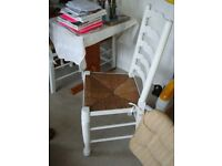 Set of 4 Vintage Painted Chairs with Rush Seats
