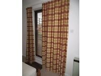Gold and coral tartan, lined curtains