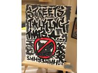 Original Hand painted canvas (streets talking that's a rat)