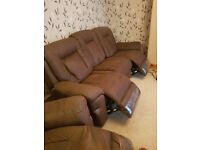 Brown Faux Suede 3 seater sofa, two fully working electric recliners plus Recliner Chair Electric