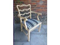 Rustic vintage boho carver chair. Dining, office, hallway. Pale mustard distressed/shabby chic.