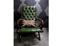 Just in Stunning Chesterfield Slipper Chair in Green Leather UK Delivery