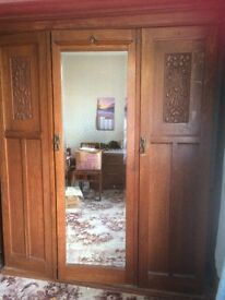 Vintage Arts and Crafts Double solid Oak Wardrobe, matches the dressing table in separate ad.