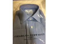 "Charles Tyrwhitt 16/34""in Royal Classic Fit Triangle texture shirt"