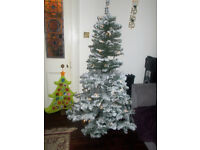 Asda Flocked Christmas Tree With LED Lights 6ft / 180cm