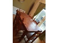 Solid Antique Pine table and 6 chairs 6ft