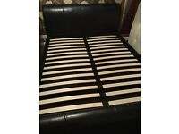 King size leather type next bed frame in ex condition
