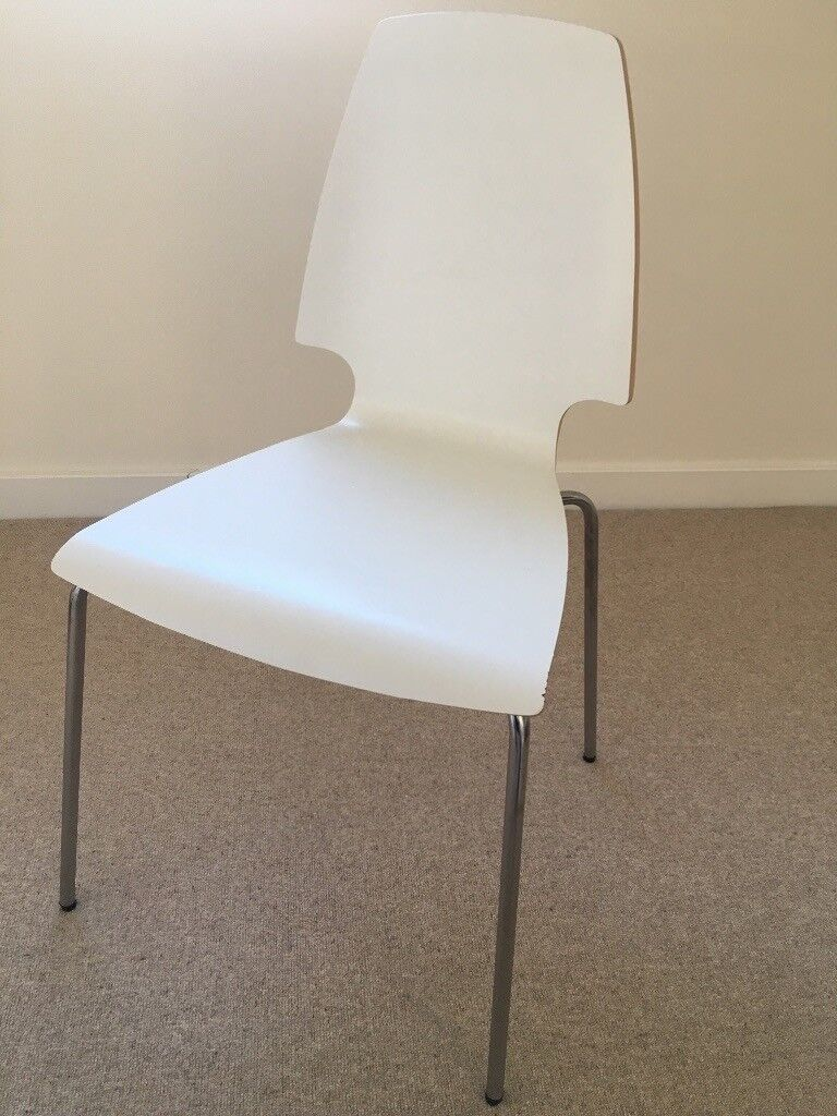 6 White Ikea Dining Room Chairs