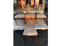 Set of 4 mcintosh teak framed dining chairs