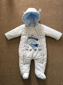 Light blue Monkey baby snowsuit 3-6 months Bargain £4