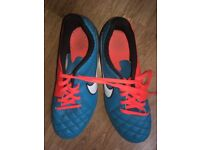 Nike Tiempo football boots, very good condition - Uk child Size 4, Neon Blue and Orange