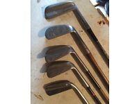 """5 Vintage golf irons including a """"Mashie"""" No2"""