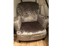 Grey/silver crushed velvet arm chair
