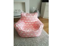 pink love heart large bean bag childs chair
