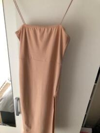 Strappy Square Neck Thigh Split Midi Dress in Stone From Boohoo