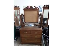 Antique dressing table with mirrors, shelf, carved.Upcycle project
