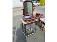 Antique vintage retro furniture table and mirror