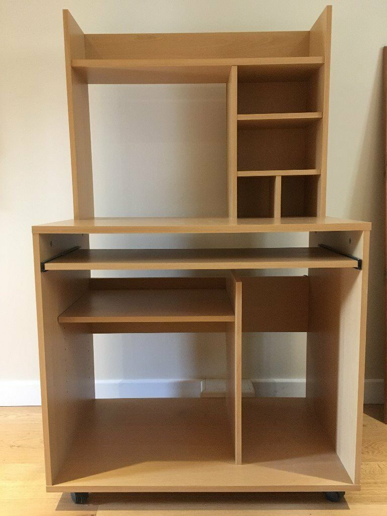 Computer Desk With Pull Out Keyboard Shelf And Storage Shelves