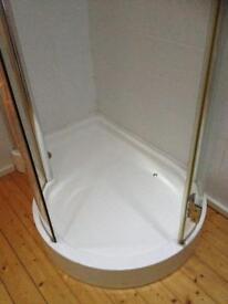 Large p shape shower unit