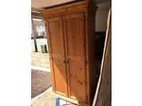 Solid pine large wardrobe with shelves and hanging rail in excellent condition