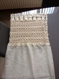 Champagne voile eyelit single curtain with lace top