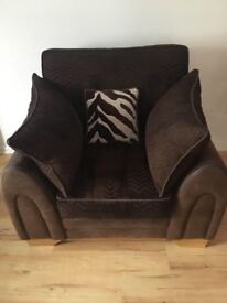 Perfect condition DFS Sofa, Armchair, and Pouffe Footstool