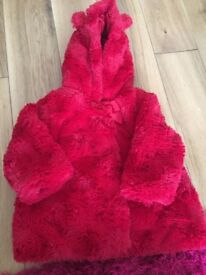 Girls red fur coat 6-9 months