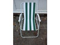 Green & White stripped garden chair