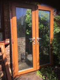 Light oak patio door and window